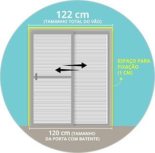 Exemplo para porta de abrir: Porta com batente (60 cm) + espaço de fixação (1 cm de cada lado) = tamanho total do vão de 62 cm